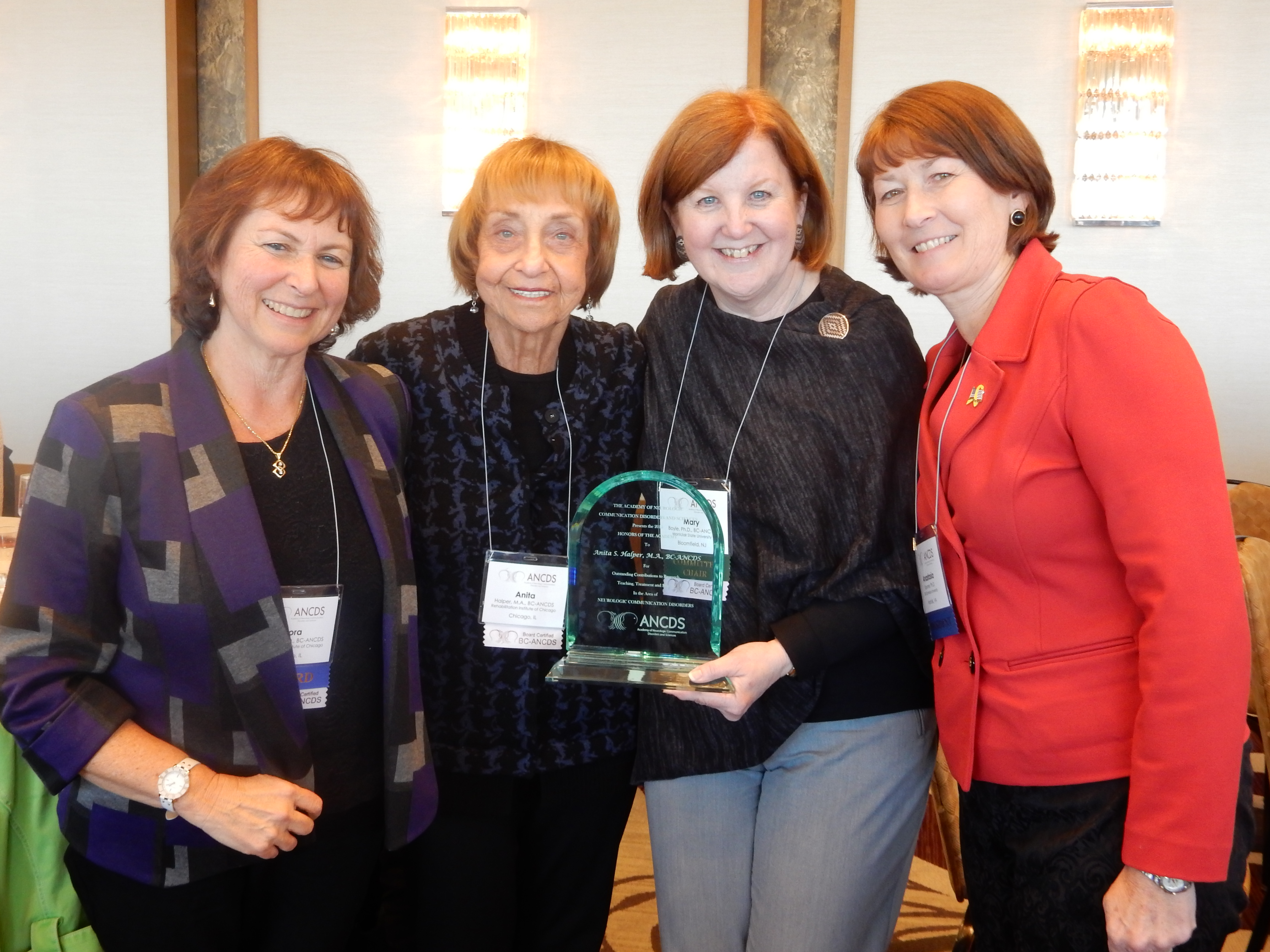 Anita Halper honoree (second from left), with her nominators, Leora Cherney (left) and Stacie Raymer (right), and Mary Boyle, Chair of the ANCDS Committee on Honors.
